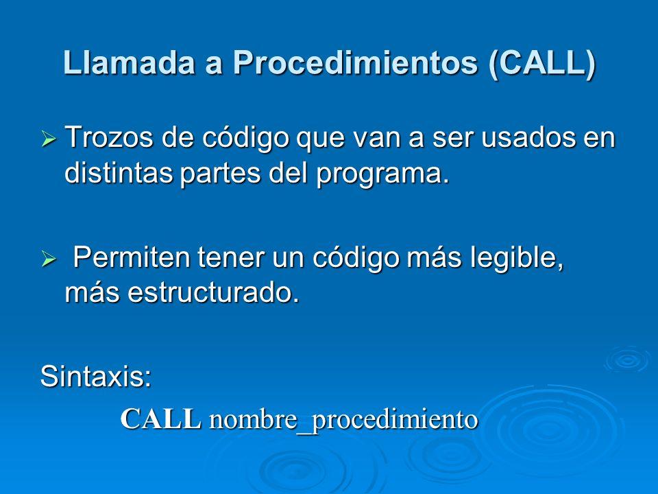 Llamada a Procedimientos (CALL) Trozos de código que van a ser usados en distintas partes del programa. Trozos de código que van a ser usados en disti