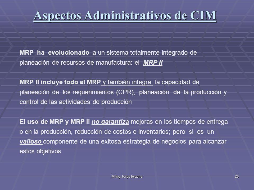M.Ing.Jorge Ierache26 MRP ha evolucionado a un sistema totalmente integrado de planeación de recursos de manufactura: el MRP II MRP II incluye todo el