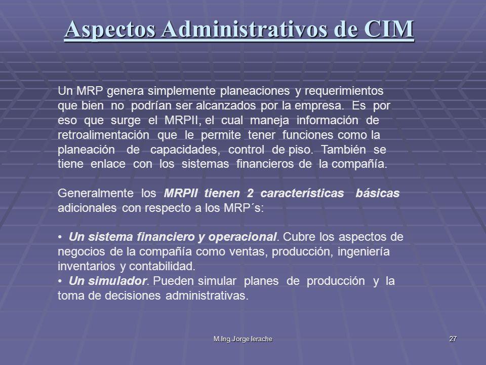 M.Ing.Jorge Ierache27 Un MRP genera simplemente planeaciones y requerimientos que bien no podrían ser alcanzados por la empresa. Es por eso que surge