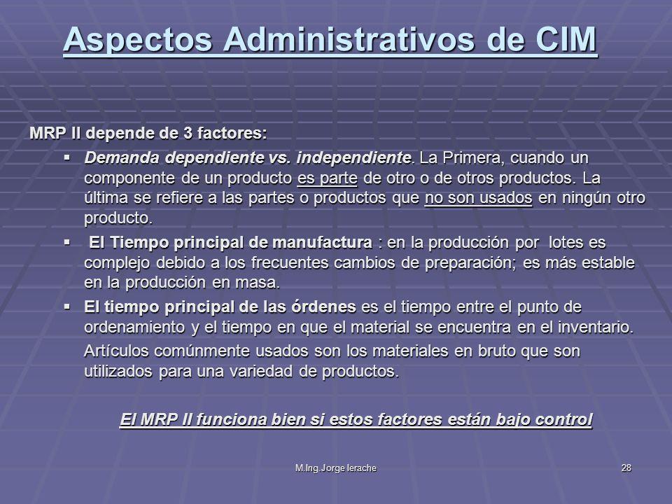 M.Ing.Jorge Ierache28 MRP II depende de 3 factores: Demanda dependiente vs. independiente. La Primera, cuando un componente de un producto es parte de