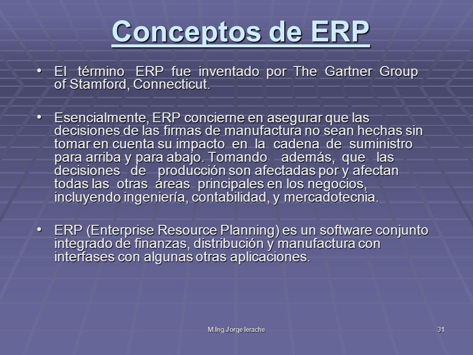 M.Ing.Jorge Ierache31 El término ERP fue inventado por The Gartner Group of Stamford, Connecticut. El término ERP fue inventado por The Gartner Group