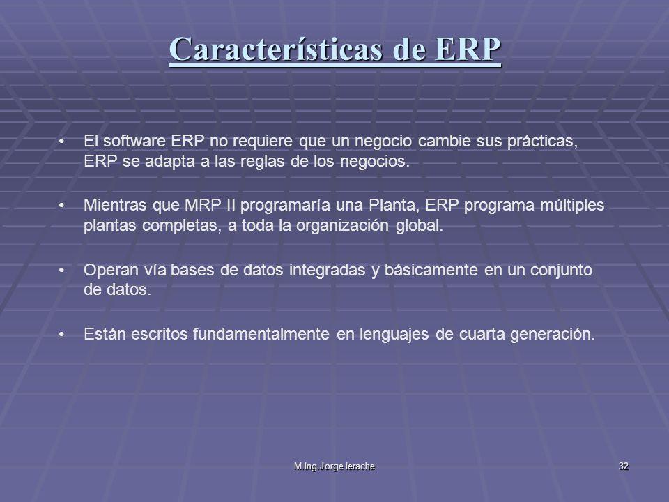 M.Ing.Jorge Ierache32 El software ERP no requiere que un negocio cambie sus prácticas, ERP se adapta a las reglas de los negocios. Mientras que MRP II