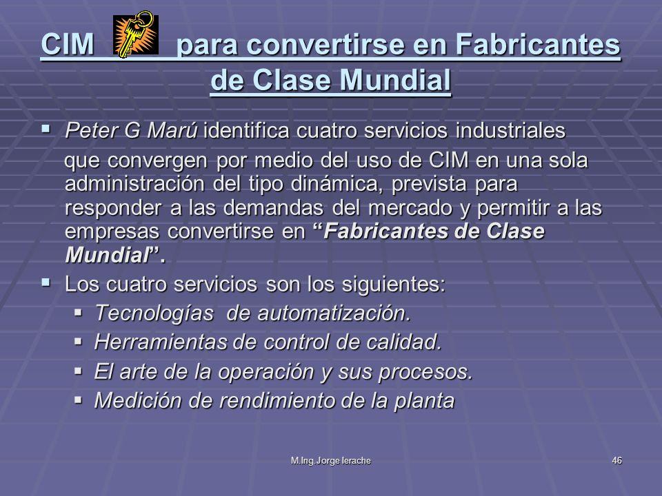 M.Ing.Jorge Ierache46 CIM para convertirse en Fabricantes de Clase Mundial Peter G Marú identifica cuatro servicios industriales Peter G Marú identifi