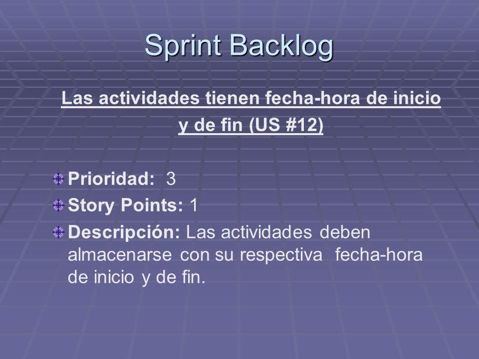 Sprint Backlog Las actividades tienen fecha-hora de inicio y de fin (US #12) Prioridad: 3 Story Points: 1 Descripción: Las actividades deben almacenar
