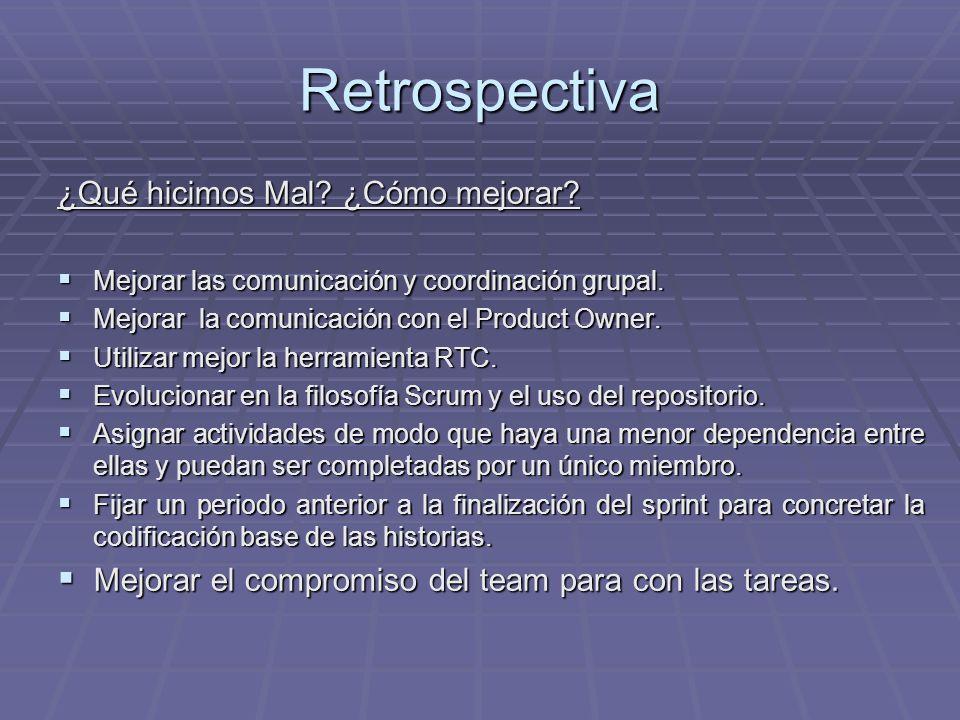 Retrospectiva ¿Qué hicimos Mal? ¿Cómo mejorar? Mejorar las comunicación y coordinación grupal. Mejorar las comunicación y coordinación grupal. Mejorar