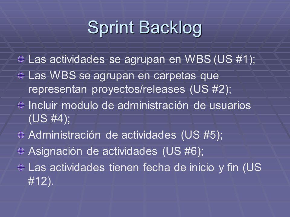 Sprint Backlog Las actividades se agrupan en WBS (US #1); Las WBS se agrupan en carpetas que representan proyectos/releases (US #2); Incluir modulo de