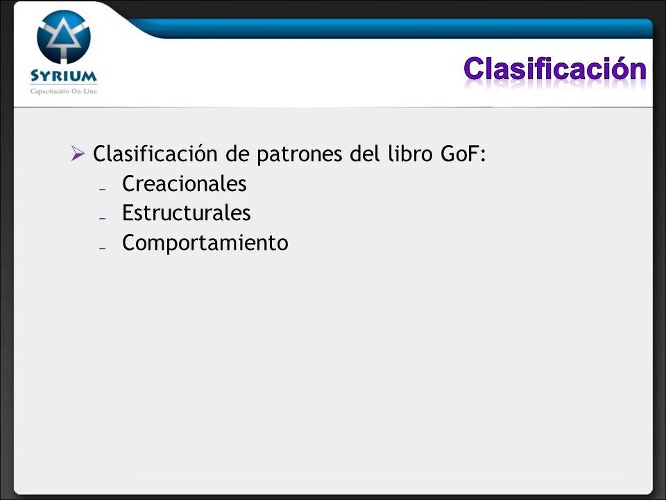 Clasificación de patrones del libro GoF: Creacionales Estructurales Comportamiento
