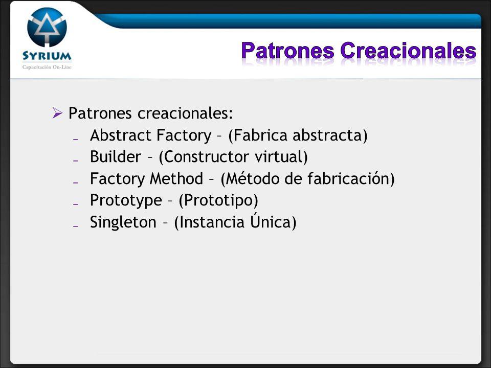 Patrones creacionales: Abstract Factory – (Fabrica abstracta) Builder – (Constructor virtual) Factory Method – (Método de fabricación) Prototype – (Pr
