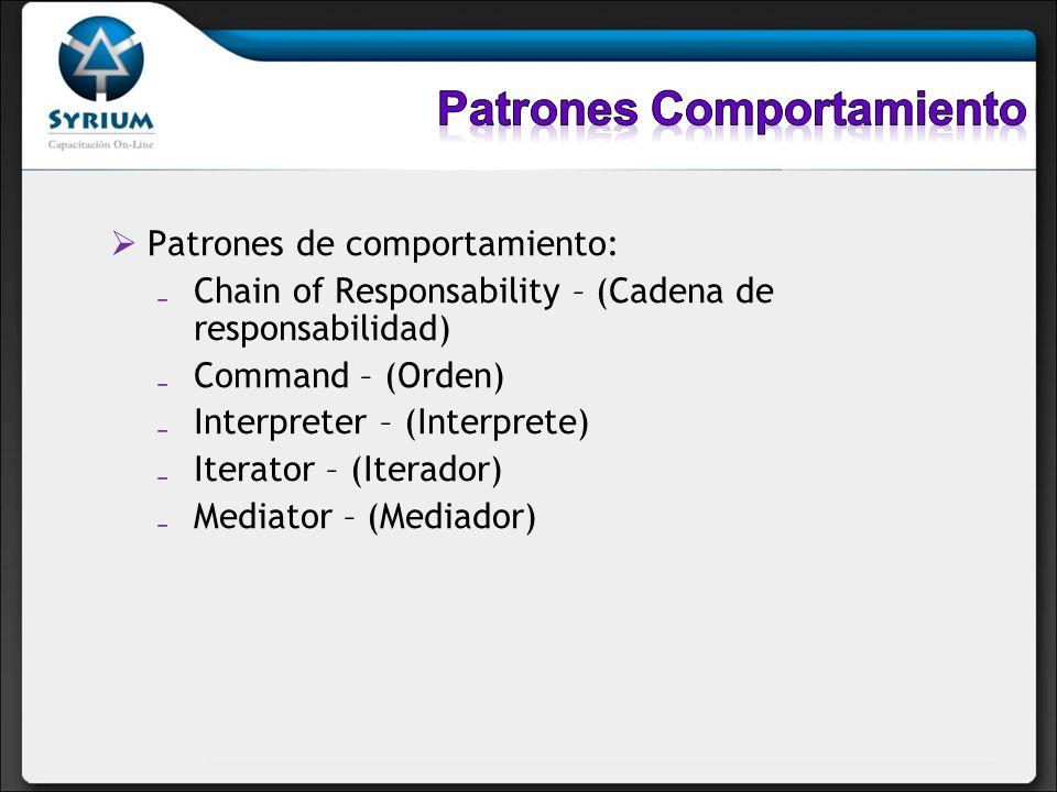 Patrones de comportamiento: Chain of Responsability – (Cadena de responsabilidad) Command – (Orden) Interpreter – (Interprete) Iterator – (Iterador) M