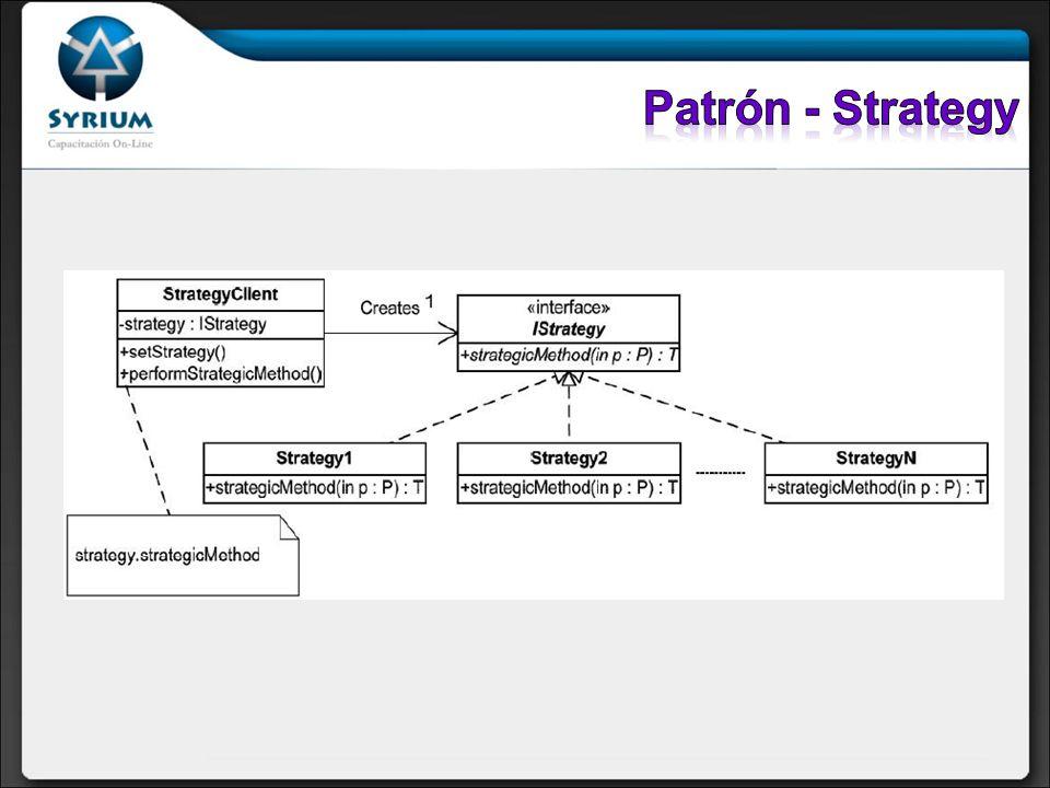Participantes: Istrategy: declara una interfaz común para todos las variantes de un algoritmo StrategyX: implementa una variable del algoritmo StrategyClient: es el responsable de crear y mantener una referencia a una estrategia concreta.