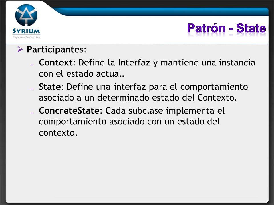 Participantes: Context: Define la Interfaz y mantiene una instancia con el estado actual. State: Define una interfaz para el comportamiento asociado a