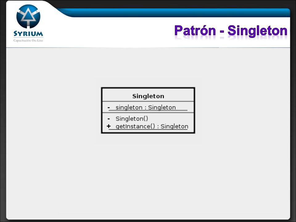 Participantes: Singleton: Define una operación getInstance que permite que los clientes, accedan a su única instancia.