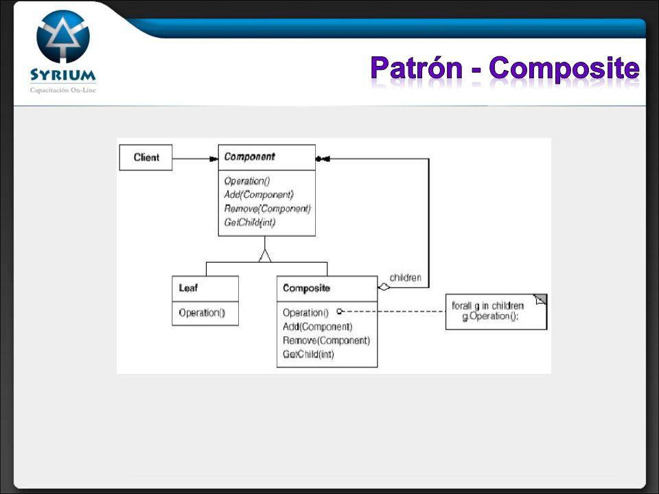 Participantes: Client: Manipula objetos a través de la interfaz proporcionada por Component.