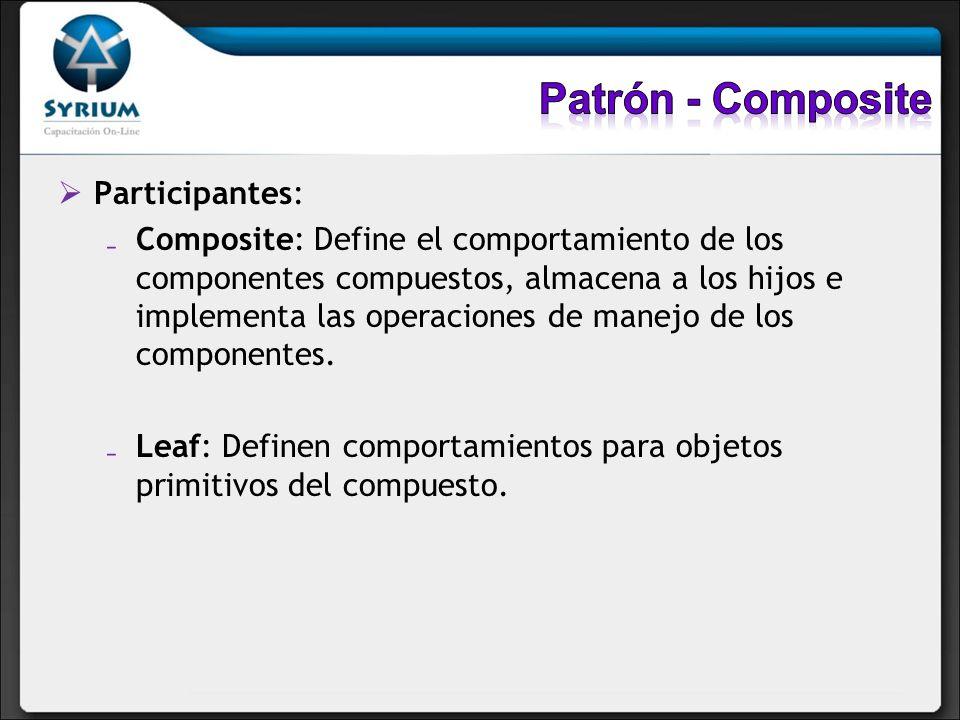 Participantes: Composite: Define el comportamiento de los componentes compuestos, almacena a los hijos e implementa las operaciones de manejo de los c