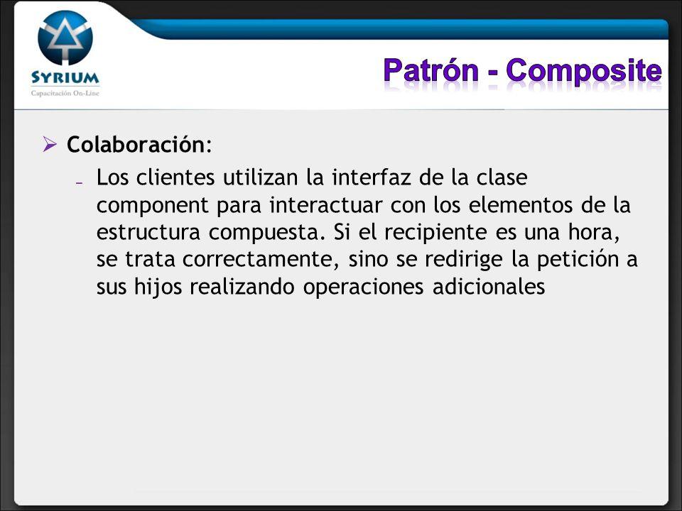 Colaboración: Los clientes utilizan la interfaz de la clase component para interactuar con los elementos de la estructura compuesta. Si el recipiente