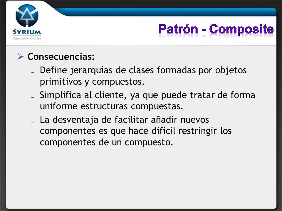 Consecuencias: Define jerarquías de clases formadas por objetos primitivos y compuestos. Simplifica al cliente, ya que puede tratar de forma uniforme