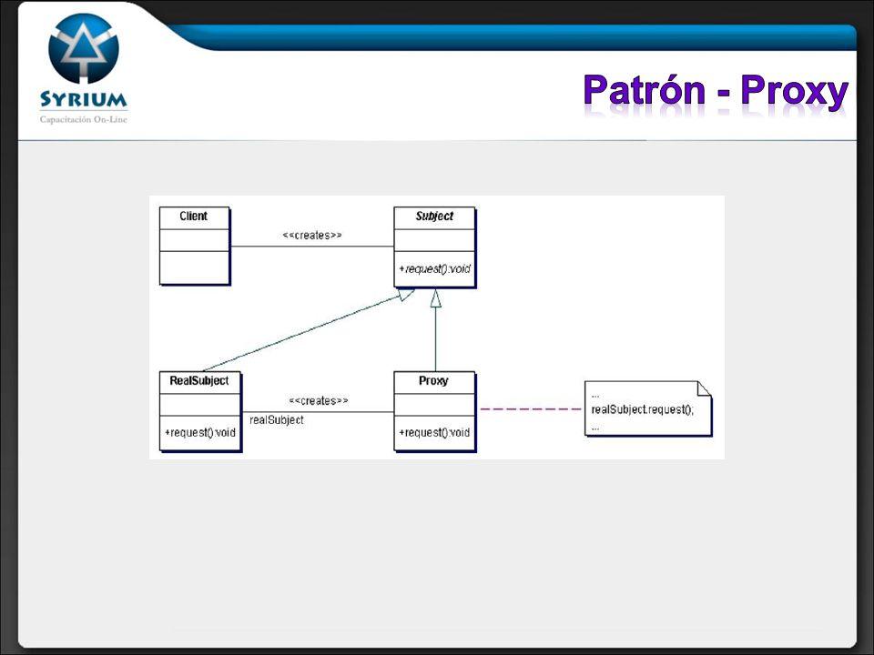 Participantes: Subject: Define la interfaz común para el RealSubject y el proxy, de modo que pueda usarse un Proxy en cualquier sitio en el que se espere un RealSubject.