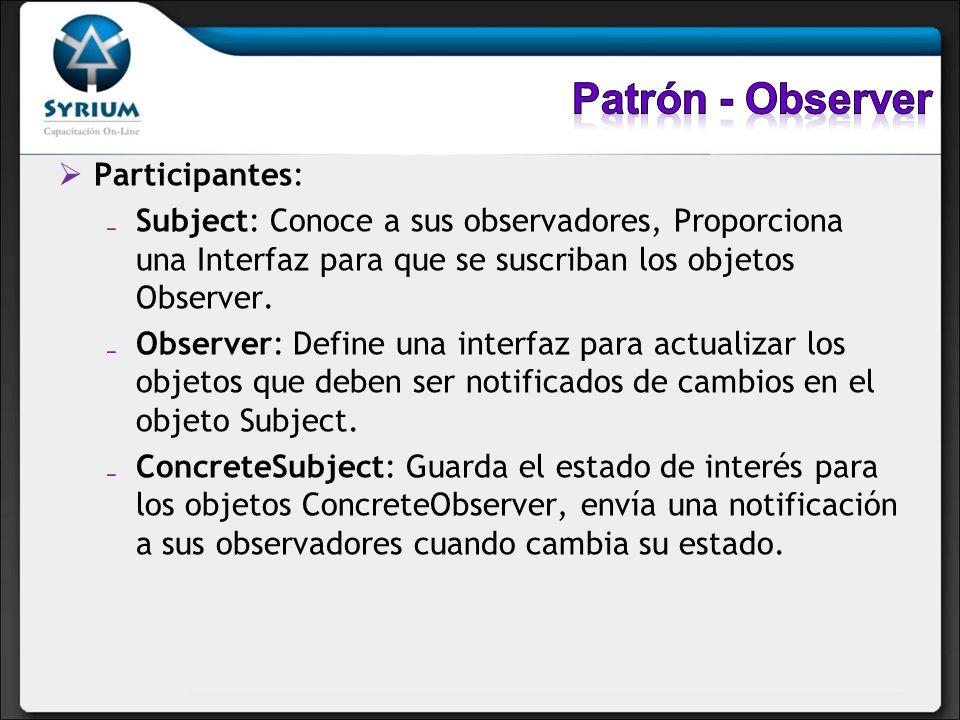 Participantes: Subject: Conoce a sus observadores, Proporciona una Interfaz para que se suscriban los objetos Observer. Observer: Define una interfaz