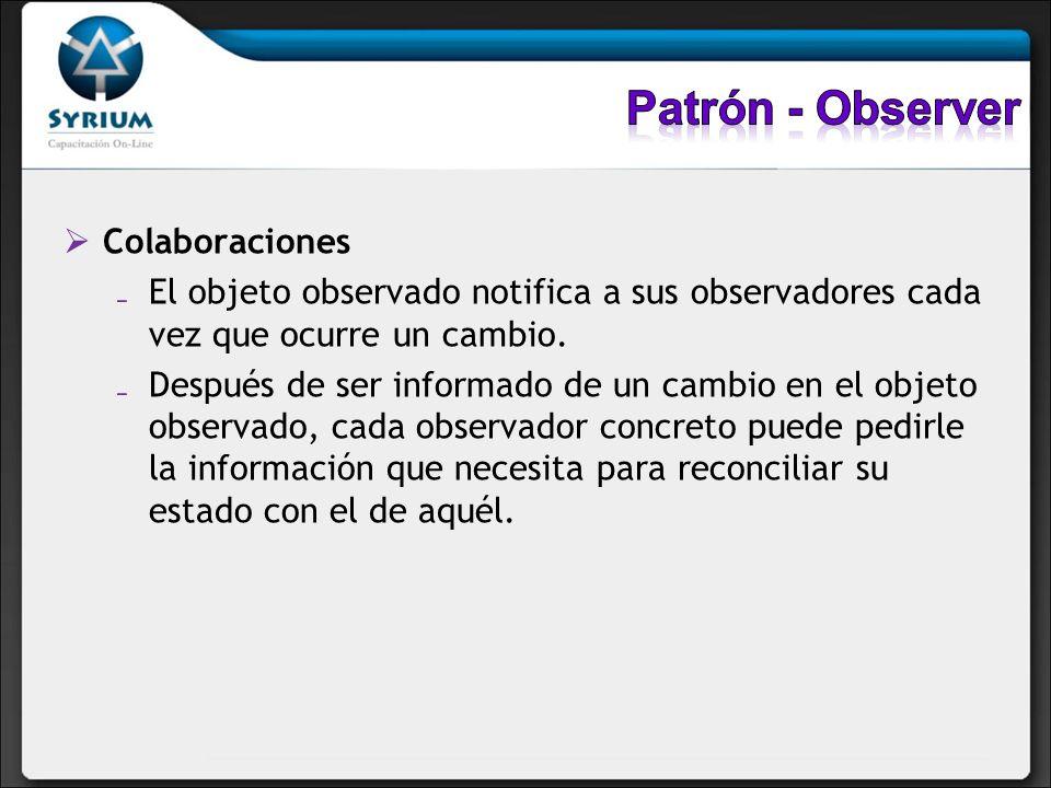 Colaboraciones El objeto observado notifica a sus observadores cada vez que ocurre un cambio. Después de ser informado de un cambio en el objeto obser