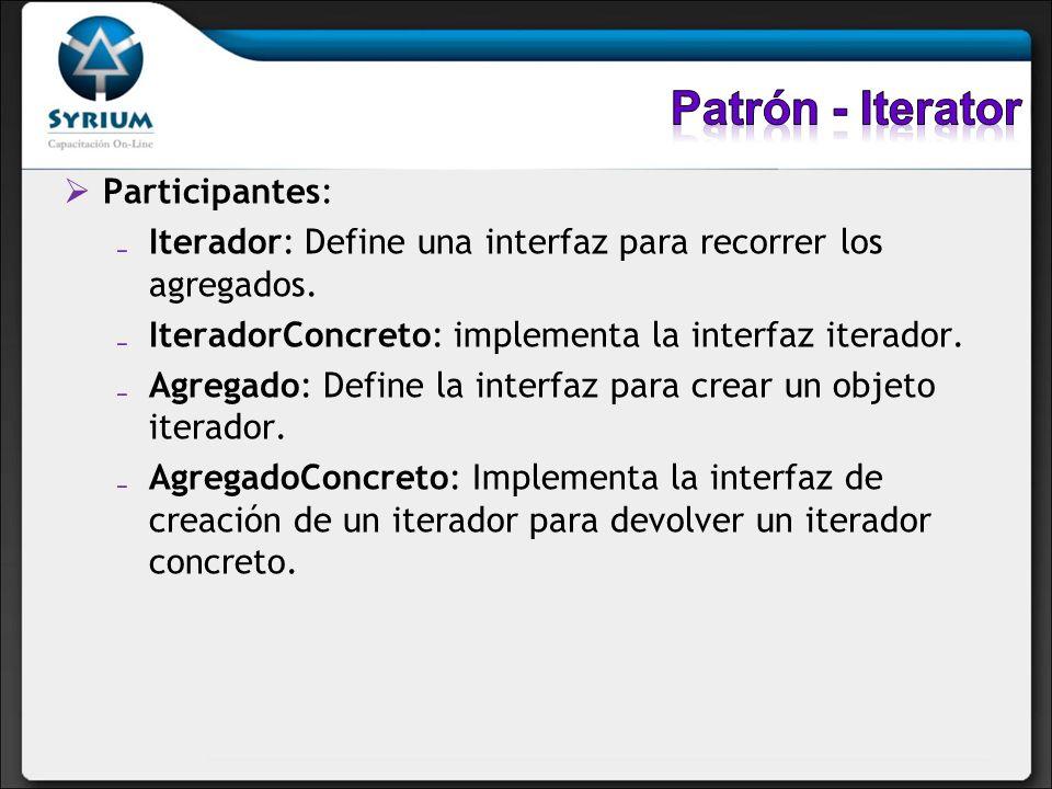 Participantes: Iterador: Define una interfaz para recorrer los agregados. IteradorConcreto: implementa la interfaz iterador. Agregado: Define la inter