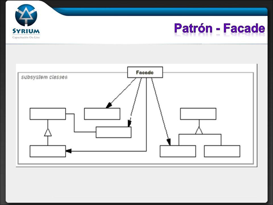 Participantes: Facade: Conoce cuales clases del subsistema son responsables de una petición y delega las peticiones de los clientes en los objetos del subsistema.
