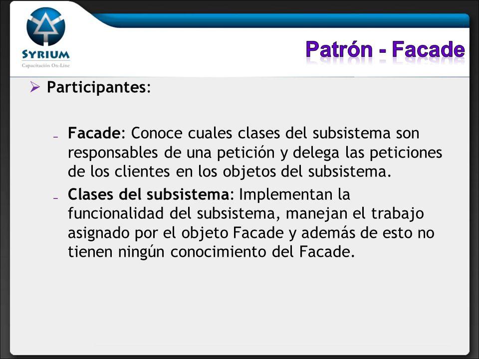 Participantes: Facade: Conoce cuales clases del subsistema son responsables de una petición y delega las peticiones de los clientes en los objetos del