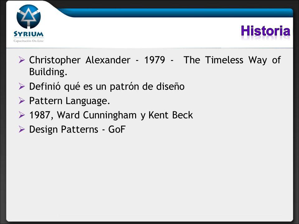 Christopher Alexander - 1979 - The Timeless Way of Building. Definió qué es un patrón de diseño Pattern Language. 1987, Ward Cunningham y Kent Beck De