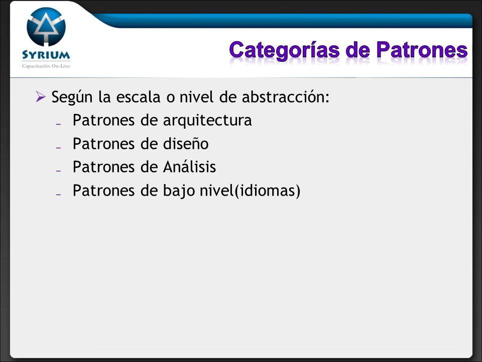 Según la escala o nivel de abstracción: Patrones de arquitectura Patrones de diseño Patrones de Análisis Patrones de bajo nivel(idiomas)