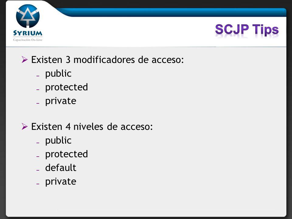 Existen 3 modificadores de acceso: public protected private Existen 4 niveles de acceso: public protected default private