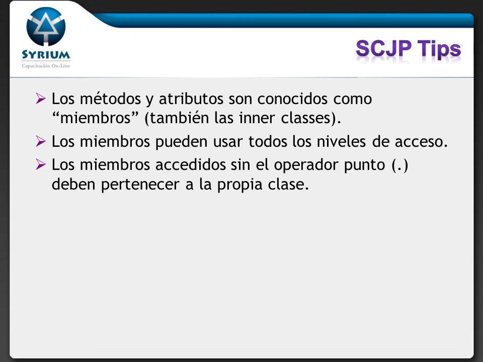 Los métodos y atributos son conocidos como miembros (también las inner classes). Los miembros pueden usar todos los niveles de acceso. Los miembros ac