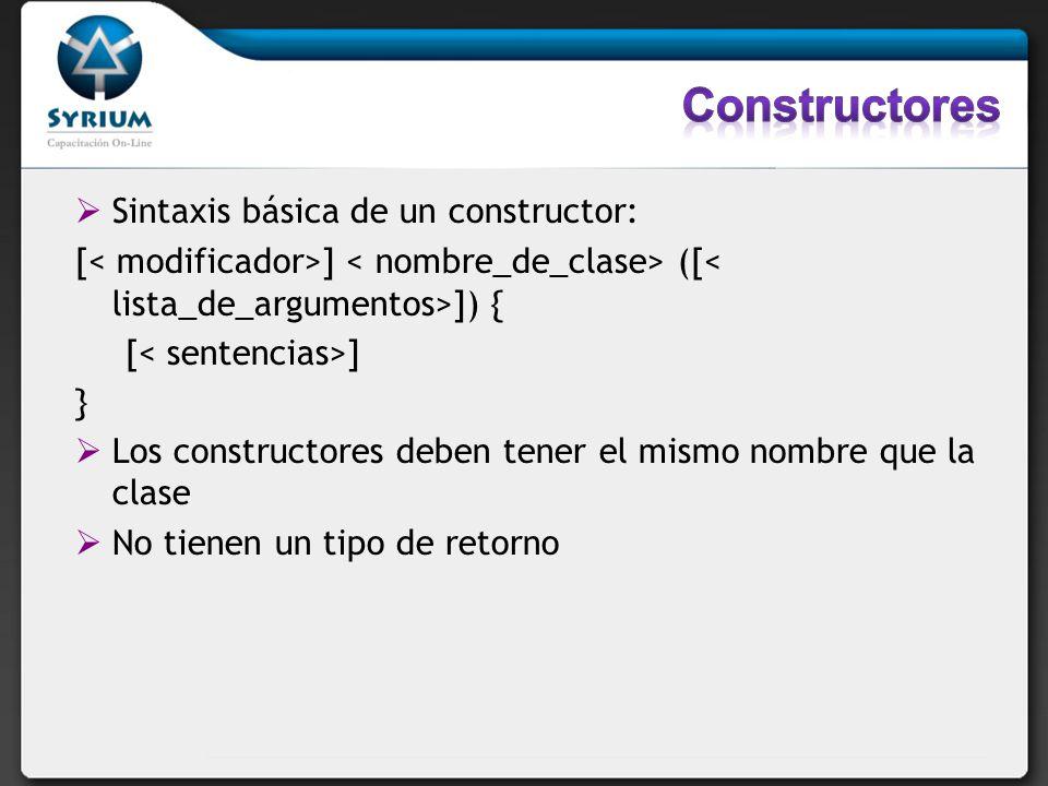 Sintaxis básica de un constructor: [ ] ([ ]) { [ ] } Los constructores deben tener el mismo nombre que la clase No tienen un tipo de retorno