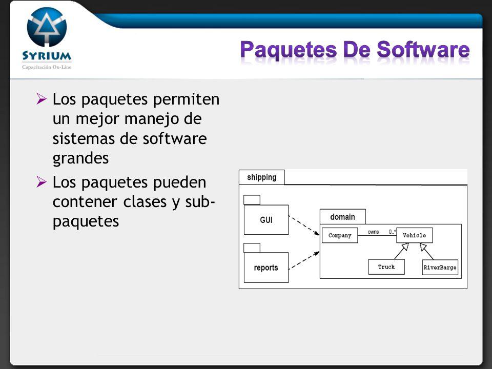 Los paquetes permiten un mejor manejo de sistemas de software grandes Los paquetes pueden contener clases y sub- paquetes