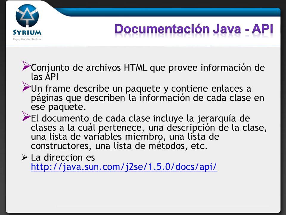 Conjunto de archivos HTML que provee información de las API Un frame describe un paquete y contiene enlaces a páginas que describen la información de
