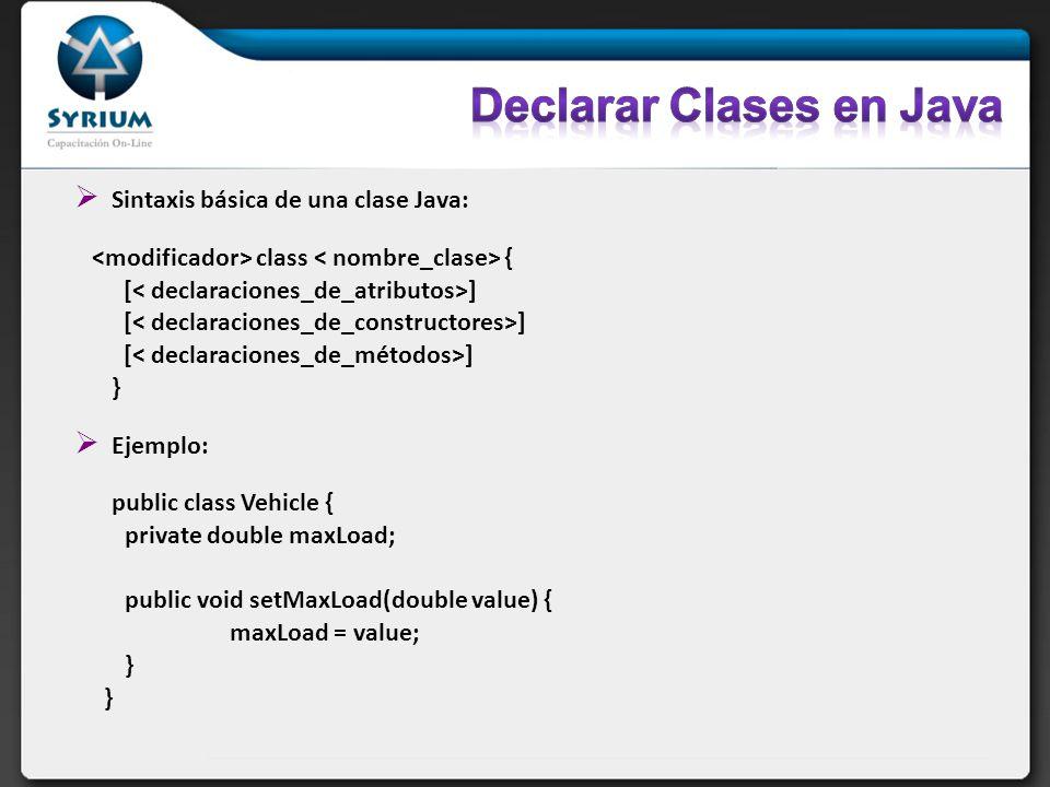 Sintaxis básica de una clase Java: class { [ ] } Ejemplo: public class Vehicle { private double maxLoad; public void setMaxLoad(double value) { maxLoa