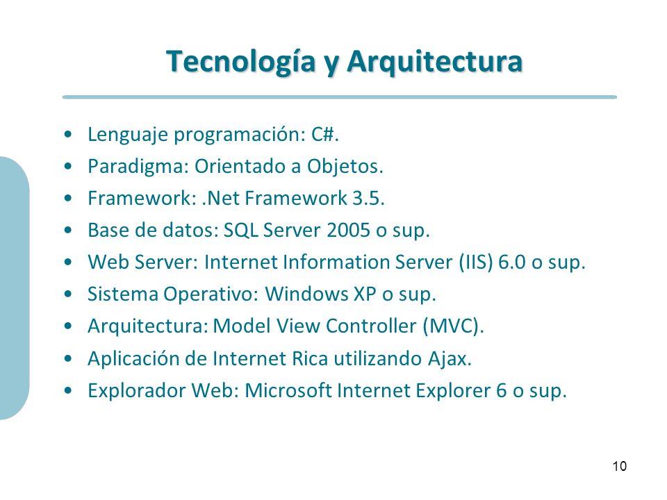 Tecnología y Arquitectura Lenguaje programación: C#. Paradigma: Orientado a Objetos. Framework:.Net Framework 3.5. Base de datos: SQL Server 2005 o su