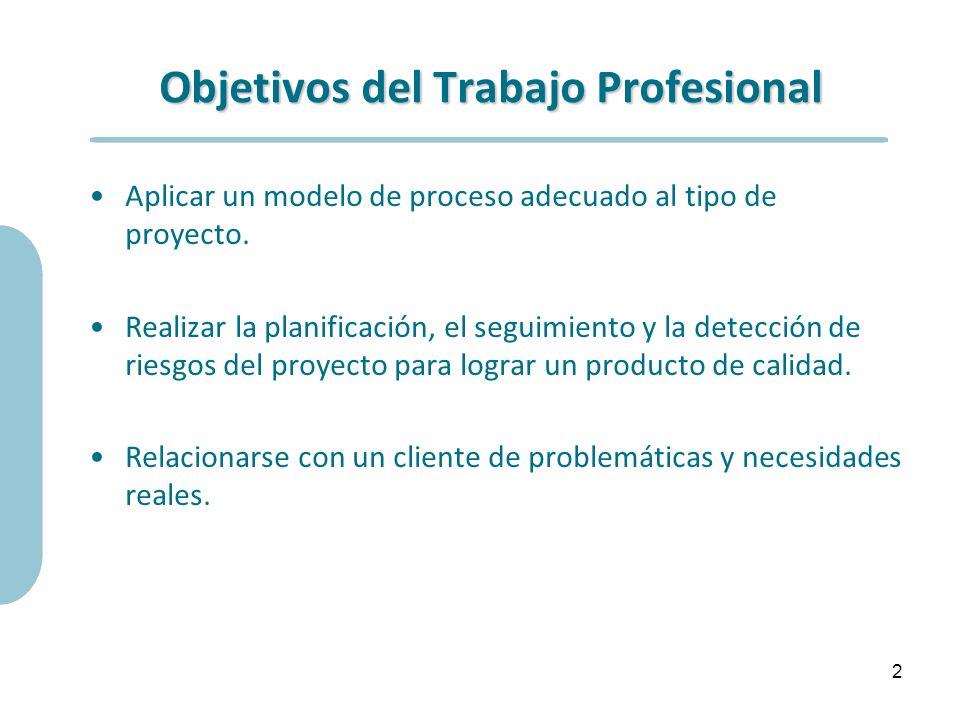 Objetivos del Trabajo Profesional Aplicar un modelo de proceso adecuado al tipo de proyecto. Realizar la planificación, el seguimiento y la detección