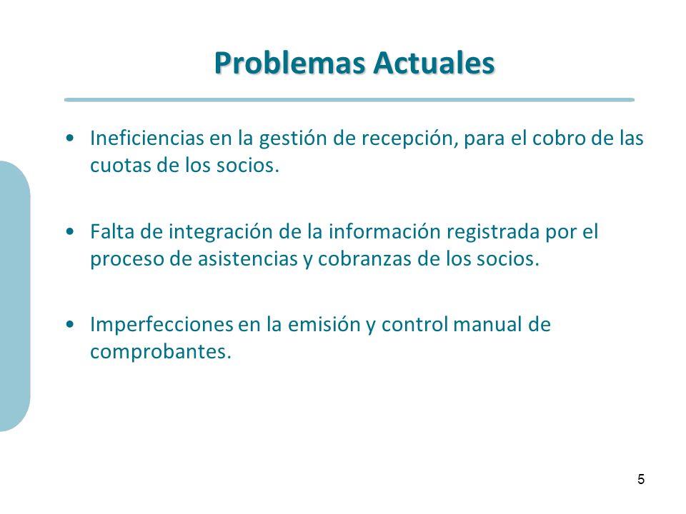 Problemas Actuales Ineficiencias en la gestión de recepción, para el cobro de las cuotas de los socios. Falta de integración de la información registr