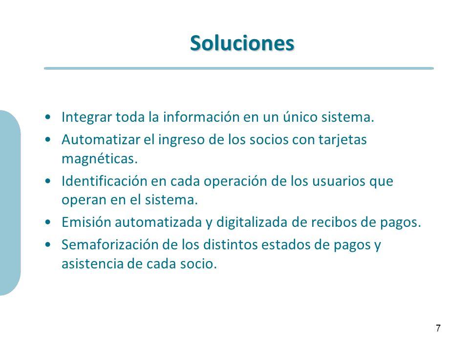 Soluciones Integrar toda la información en un único sistema. Automatizar el ingreso de los socios con tarjetas magnéticas. Identificación en cada oper
