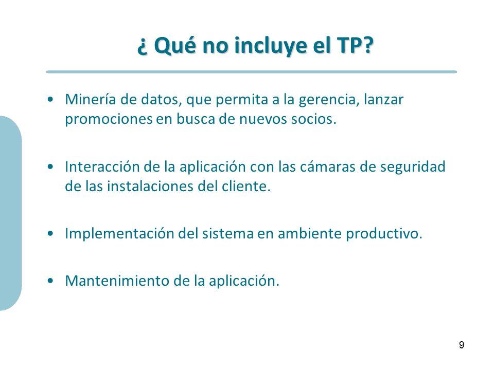 ¿ Qué no incluye el TP? Minería de datos, que permita a la gerencia, lanzar promociones en busca de nuevos socios. Interacción de la aplicación con la