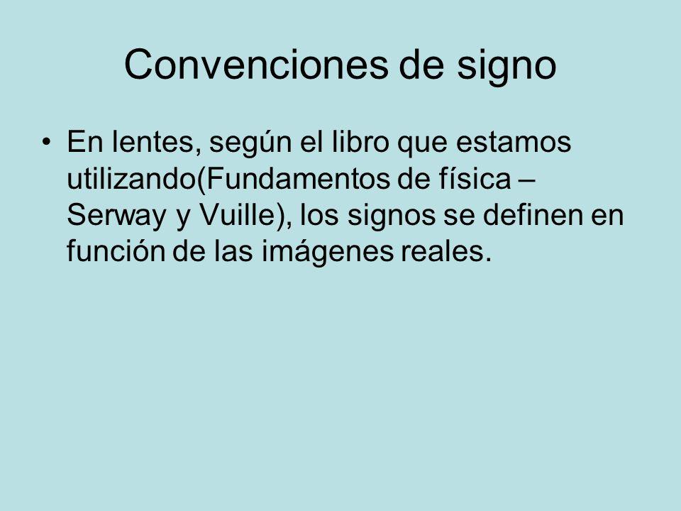 Convenciones de signo En lentes, según el libro que estamos utilizando(Fundamentos de física – Serway y Vuille), los signos se definen en función de l