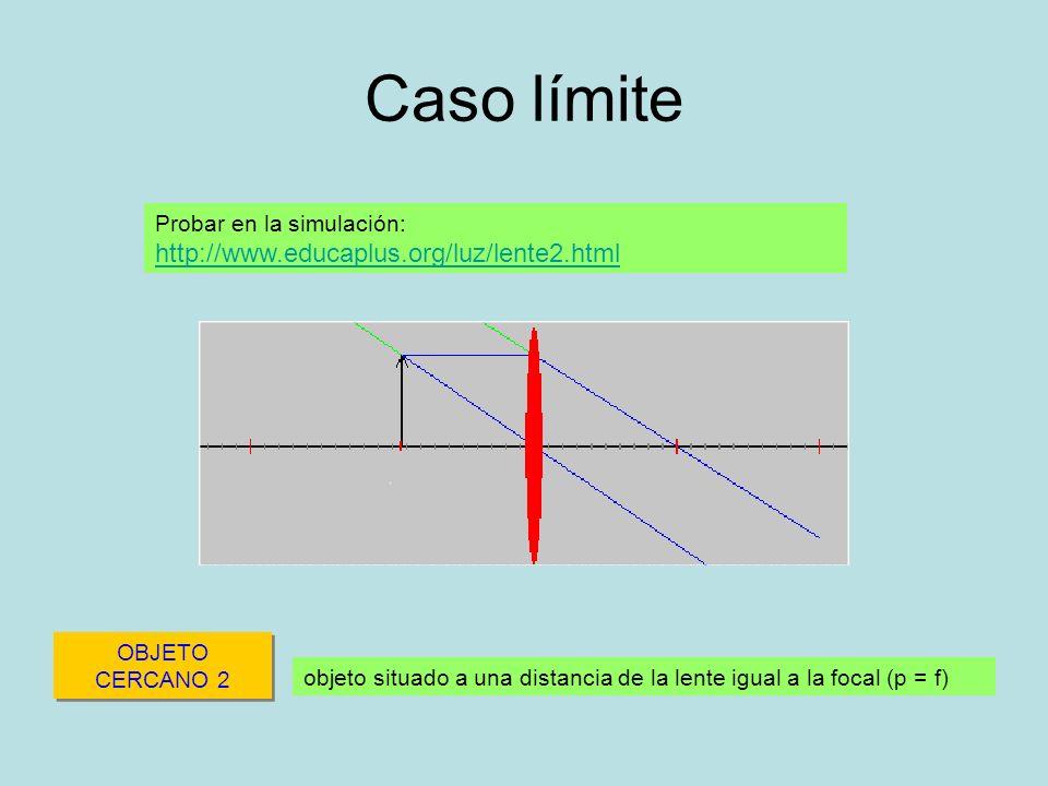 Caso límite OBJETO CERCANO 2 objeto situado a una distancia de la lente igual a la focal (p = f) Probar en la simulación: http://www.educaplus.org/luz