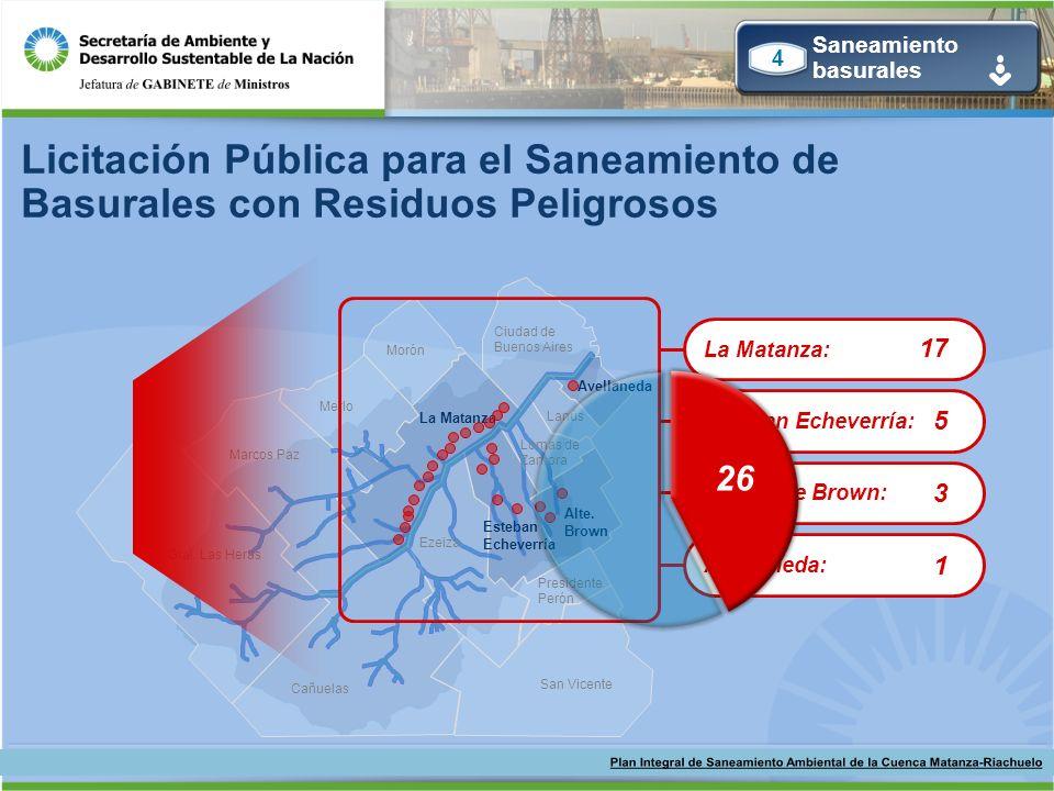 Licitación Pública para el Saneamiento de Basurales con Residuos Peligrosos Ciudad de Buenos Aires Avellaneda Lanús Alte. Brown Lomas de Zamora Ezeiza