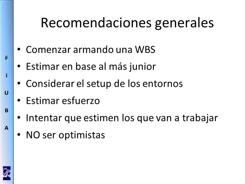 Recomendaciones generales Comenzar armando una WBS Estimar en base al más junior Considerar el setup de los entornos Estimar esfuerzo Intentar que estimen los que van a trabajar NO ser optimistas