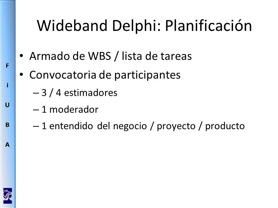 Wideband Delphi: Planificación Armado de WBS / lista de tareas Convocatoria de participantes – 3 / 4 estimadores – 1 moderador – 1 entendido del negocio / proyecto / producto
