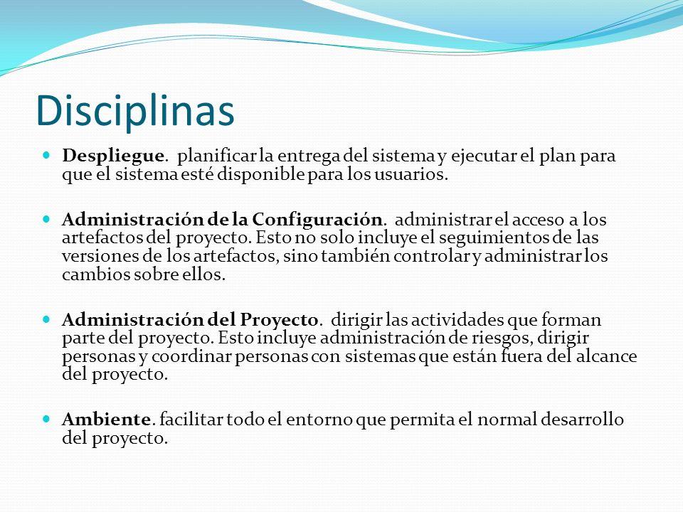 Disciplinas Despliegue. planificar la entrega del sistema y ejecutar el plan para que el sistema esté disponible para los usuarios. Administración de