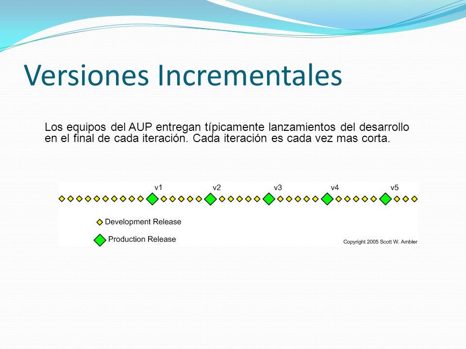 Versiones Incrementales Los equipos del AUP entregan típicamente lanzamientos del desarrollo en el final de cada iteración. Cada iteración es cada vez