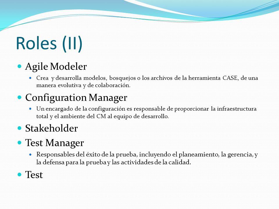 Roles (II) Agile Modeler Crea y desarrolla modelos, bosquejos o los archivos de la herramienta CASE, de una manera evolutiva y de colaboración. Config