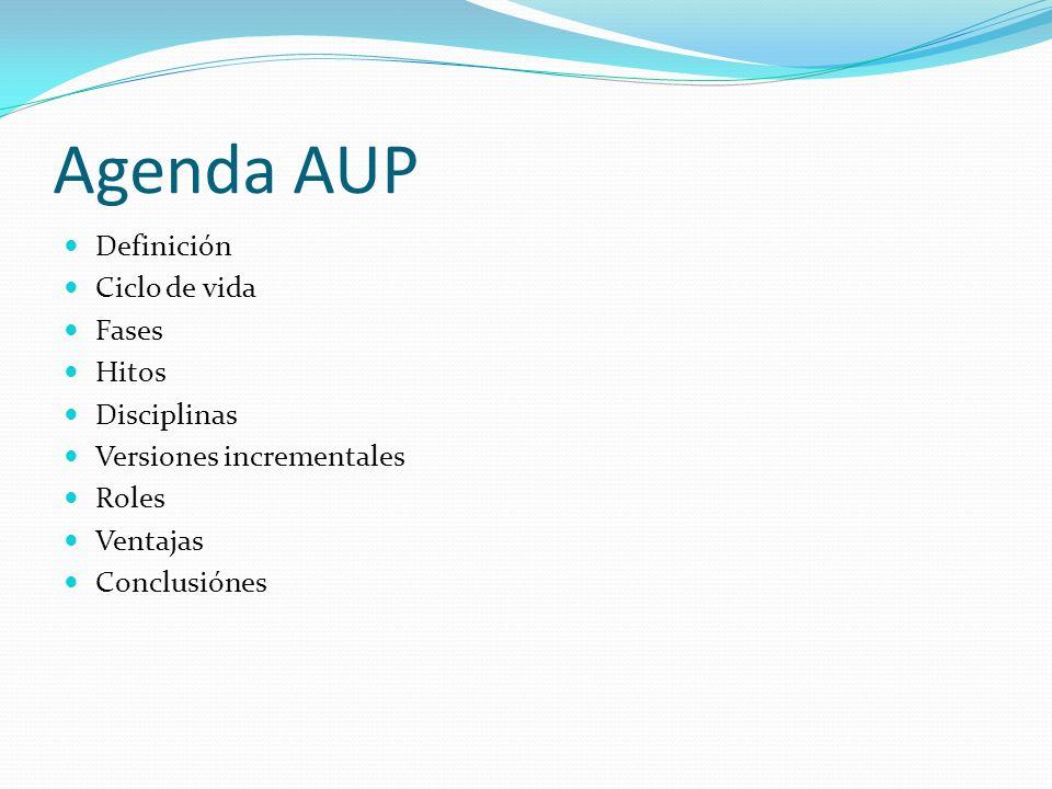 Agenda AUP Definición Ciclo de vida Fases Hitos Disciplinas Versiones incrementales Roles Ventajas Conclusiónes