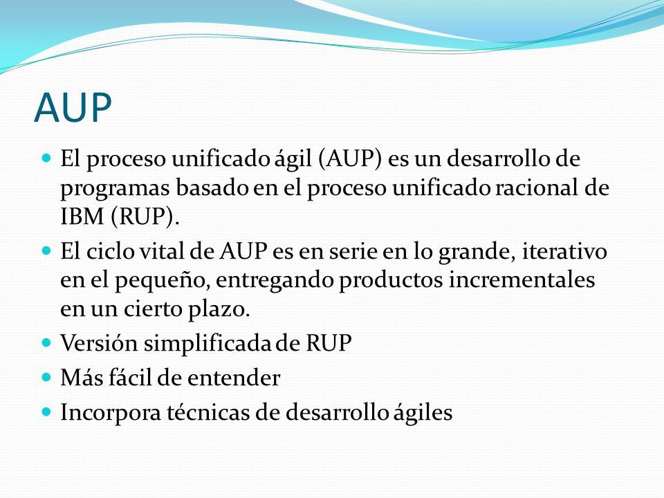 AUP El proceso unificado ágil (AUP) es un desarrollo de programas basado en el proceso unificado racional de IBM (RUP). El ciclo vital de AUP es en se
