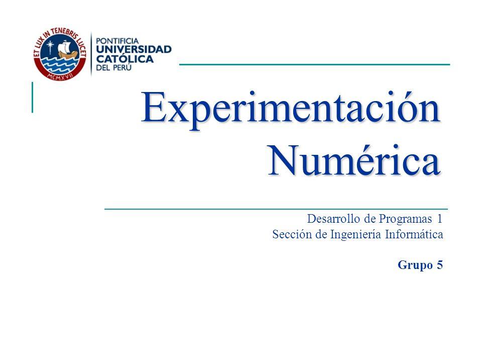 Desarrollo de Programas 1 Sección de Ingeniería Informática Grupo 5 Experimentación Numérica